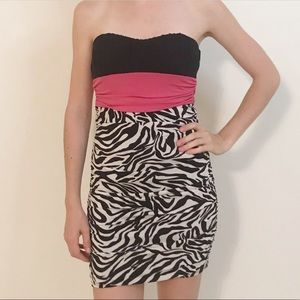 Speeckless Strapless Zebra Print Dress